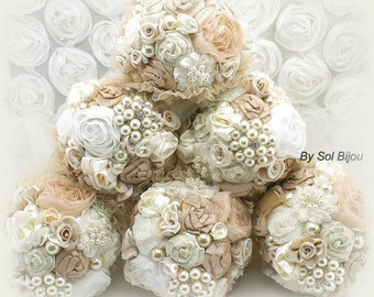 Brooch Bouquets, Bridesmaids Bouquets, Champagne, Tan, Beige, Ivory, Maid of Honor, Pearls, Crystals, Tulle, Vintage, Gatsby, Elegant