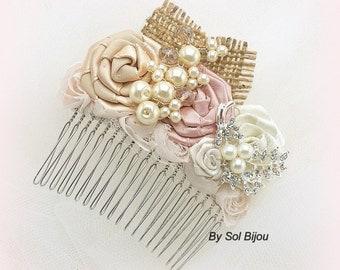 Hair Comb, Fascinator, Dusty Rose, Champagne, Tan, Ivory, Elegant Wedding, Vintage Style, Bridal, Flower Girl, Burlap, Crystals, Pearls