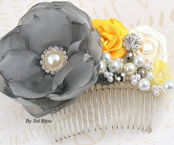 Hair Comb, Yellow, Silver, Gray, Pewter, Ivory, Fascinator, Vintage Style, Elegant Wedding, Bridal, Satin, Pearls, Crystals, Gatsby Wedding