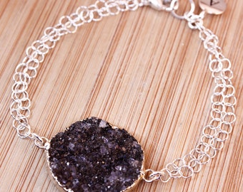Silver Black Druzy Bracelet - Initial Bracelet - Choose Your Stone