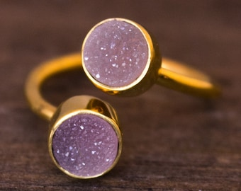 SALE Dual Pink Druzy Ring - Two Stone Ring - OhKuol Ring, Adjustable