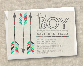 Baby Boy Shower Invitation - Tribal Aztec and Arrows - Digital Printable File