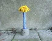 Enamel and concrete bud vase