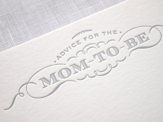 Letterpress Baby Shower Advice Cards - Mom to Be - Mommy - Words of Wisdom - 10 Pack