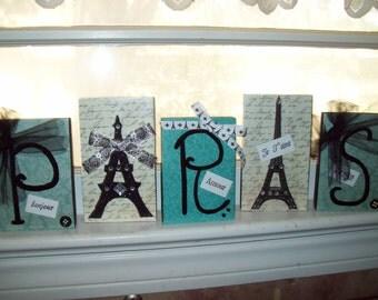 Teal and black Paris letter blocks,Eiffel Tower,Paris decor,Paris theme,Paris birthday decor,Paris baby shower,Paris bedroom