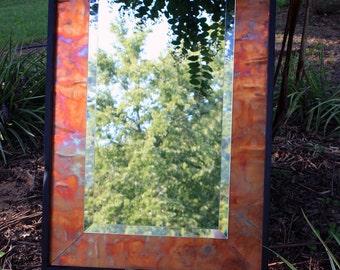 Copper Framed Mirror, Beveled Mirror, Distressed Copper Sheet Mat, Thin Shadow Box Frame, Ebony Finish, 24 x 36 - Handm