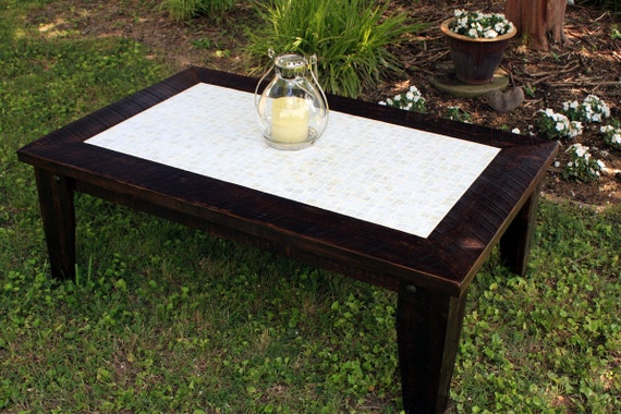 Large Coffee Table Mother Of Pearl Inlay By Natureinspiredcrafts