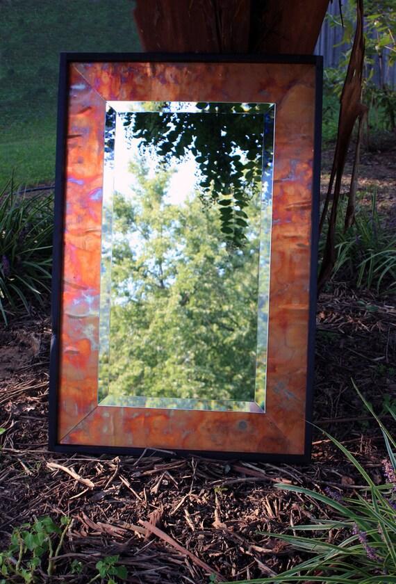 copper framed mirror beveled mirror distressed copper sheet. Black Bedroom Furniture Sets. Home Design Ideas