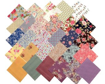 """60 Charm Pack Pre-Cut 4x4"""" Fabric Square Child Floral Rose Polka Dot Gingham"""