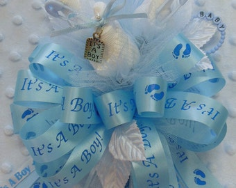 Baby Boy Three Sock Corsage with 'It's A Boy' Ribbon and Large Diaper Pin