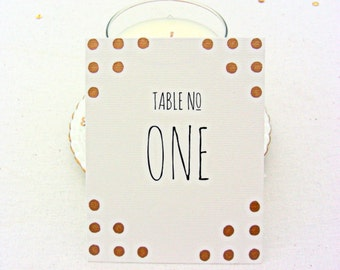 Wedding table number cards, gold polka dots, hand gilded,modern, wedding extras