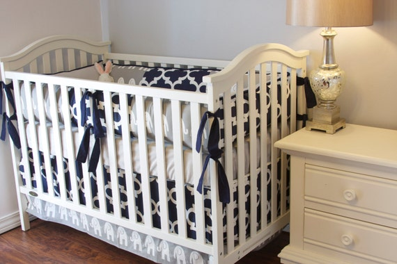 Elephant Boy Crib Set Boy Crib Bedding Elephant Baby Grey