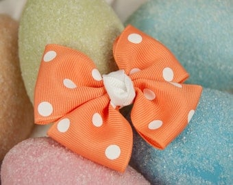 Apricot Polka Dot Pinwheel Bow, Girls Pinwheel Hair Bow, Spring Hair Bow, Apricot Hair Bow, Pinwheel Bow, Toddler Hair Bow, Polka Dot Bows
