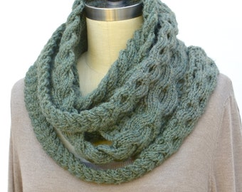 Triple Plait Infinity Scarf PDF Knitting Pattern Instant Download