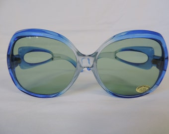 vintage blue sunglasses 70s boho oversized sunglasses retro eyewear hippie glasses new old stock