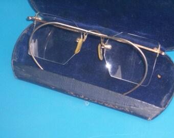 Antique Nocro Unusual Shape No Rim Eye Glasses 12K GF with Case