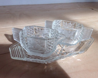 Vintage glass tray with sugar and creamer cups