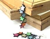 SALE Glitter rainbow star dangly earrings in pastel or bold