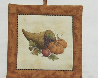 Fall Autumn Harvest Cornucopia and Bale of Straw with Pumpkins Set of Two Pot Holders