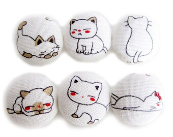 Cat Expressions - Fabric Covered Buttons - 6 Large Fabric Buttons