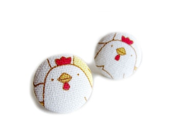 Button Earrings / Clip On Earrings - chicken earrings
