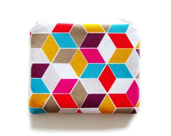 Zipper Pouch - Colorful Grids - Available in Small / Large / Long