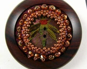 Hand Turned Wood and Beaded Button with Vintage Shell Button Focal Piece