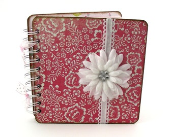 Raspberry Trellis Lined Journal, 6x6 - pink, white