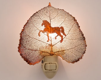Real Cottonwood Leaf Dipped In Iridescent Copper With Carousel Horse Silouhette Night Light  - Iridescent Copper Leaves
