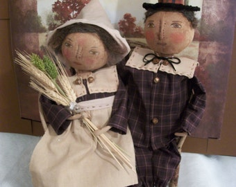 Primitive doll pattern only,adorable Pilgrim couple, by Dumplinragamuffin, AB4B