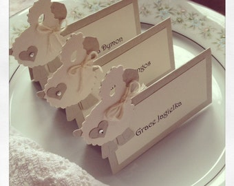 12 Little Lamb Placecards,Gender Neutral - Baby Shower Place cards