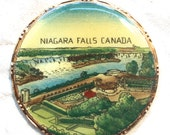 2 Vintage Niagara Falls Pendant W/ Gold Trim