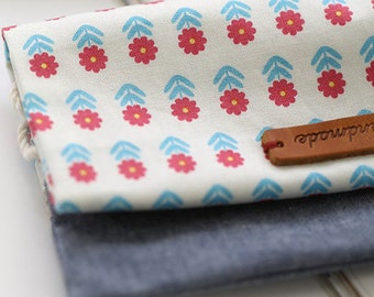 Red Blue lovely Daily Flower  on Cotton, U217