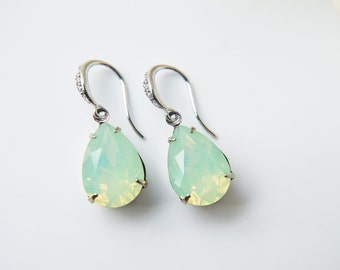 Pale Mint Opalescent Swarovski Earrings Chrysolite Opal Crystal Silver Dangle Earrings