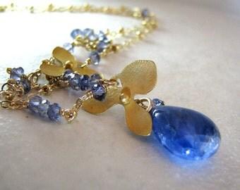 Blue Necklace, Blue Sapphire Necklace, Gold Necklace, Blue Sapphire Gemstone, September Birthstone Necklace, Gold Orchid - Blue Orchid