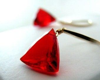 Red Earrings, Red Quartz Earrings, Gold Earrings, Red AAA Quartz Dangle - Ruby Red Slippers