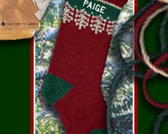 Knitted Personalized Christmas Stocking Red Ragg with Embroidered Name