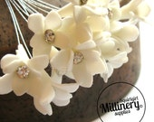 12 Mini Ivory Diamante Foam Flower Blooms Wired Picks for Millinery and Tiara Making