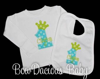 Birthday Shirt and Bib, Personalized 1st Birthday Shirt and Bib,  Prince Shirt and Bib, Boys Birthday Shirt and Bib