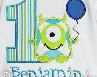 Monster Birthday Shirt, Monster Balloon Shirt, Number, Monogrammed, Custom Fabric, Girls Birthday Shirt, Shirt, Tank,Bodysuit,Romper, Gift
