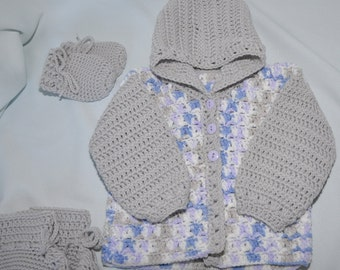 Baby Sweater, Hooded Baby Sweater with matching Mittens and Booties in size 6 to 12 months