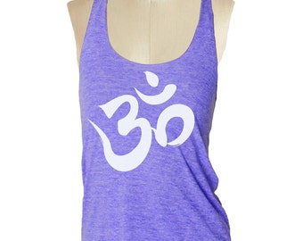 OHM YOGA Tank Top shirt - American printed apparel Tri-Blend Tank workout - 8 color options Available in sizes S, M, L skip n whistle