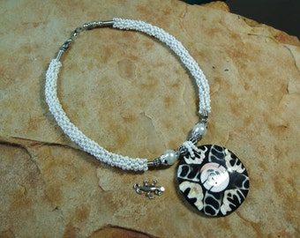 Handmade Beading,Handcut  & Handlaid Abalone and Shiva Circle Shell Pendant Necklace