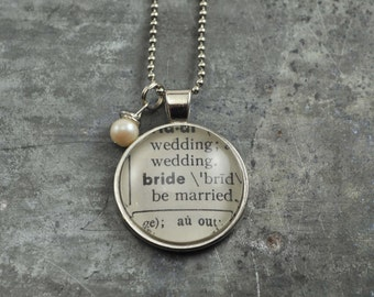 Vintage Dictionary Word Necklace Pendant BRIDE