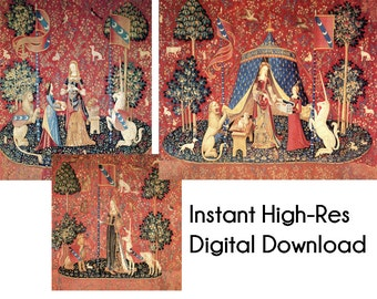 2 The Lady with the Unicorn Instant Digital Download Printable files Smell Touch and Soul Maiden Senses Tapestry La Dame à la licorne