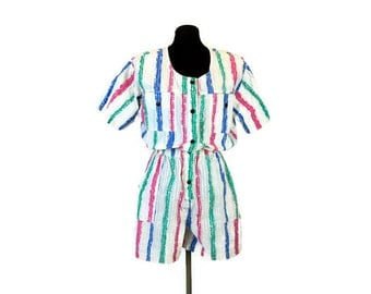 1980s onesie, 80s romper, one piece shorts, jumpsuit, striped, blue green pink, painted stripes, Size L