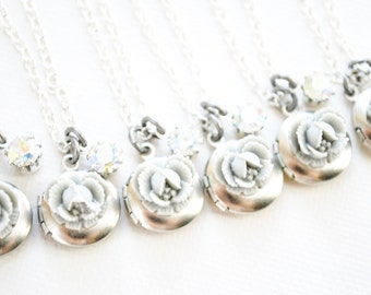 SALE - Petite Gray Ruffle Rose Locket with Vintage Rhinestone - Cabbage Rose Necklace - Bridesmaid Necklaces - Silver Plated