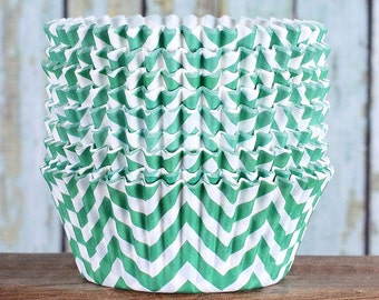 Green Chevron Cupcake Liners, Christmas Cupcake Liners, Cupcake Wrappers, Cupcake Cases, Stay Bright Greaseproof Cupcake Liners, Baking Cups