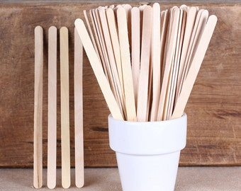 Flat Wooden Lollipop Sticks, Skinny Popsicle Sticks, Beverage Stirrers, Drink Stirrers, Wooden Cake Pop Sticks, Flat Lolly Sticks (50)