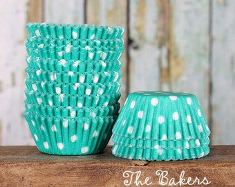 MINI Jade Green Polka Dot Cupcake Liners, Teal Green Candy Cups, Mini Treat Cups, Mini Candy Cups, Cake Pop Cups, Mini Cupcake Cases (100)